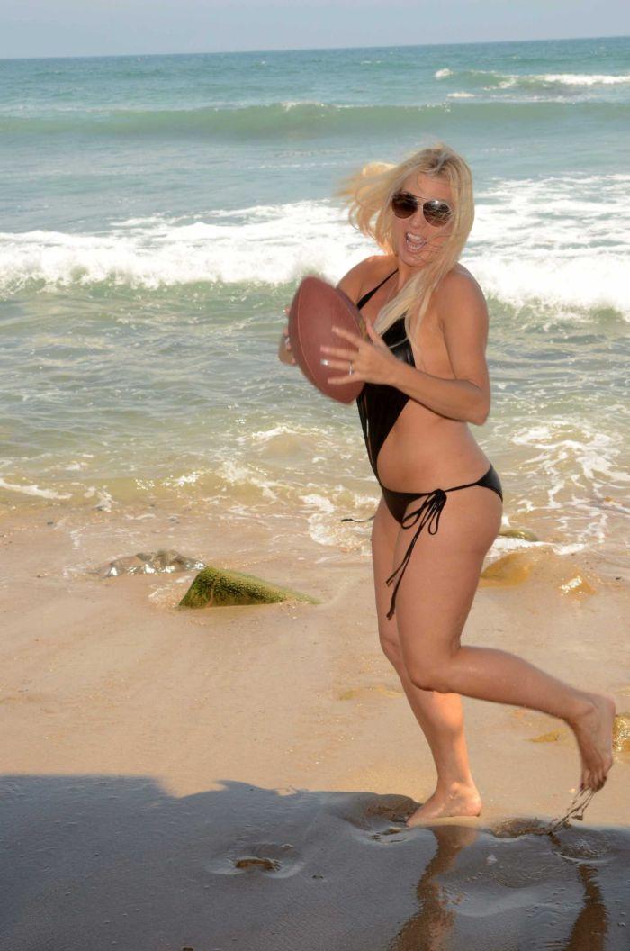 Angelique Frenchy Morgan Playing Football On Malibu Beach